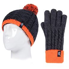 Kids' Cable Turn Over Hat and Gloves (Age 7-10 Years)