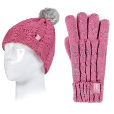 Kids' Cable Turn Over Hat and Gloves (Age 11+ Years)