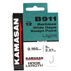 B911 Heavy Barbless Hooks To Nylon Size 10 10pk