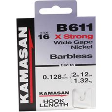 B611 XStrong Barbed Hooks To Nylon Size 16 10pk