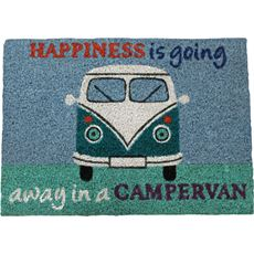 Heavy Duty Coir 'Happiness is going away in a campervan' Mat