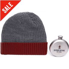 Knitted Hat and Hip Flask Gift Set