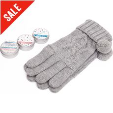 Knitted Gloves and Lip Balm Gift Set